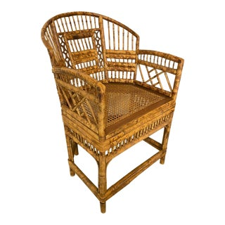 Brighton Pavilion Style Chinoiserie Burnished Bamboo Armchair For Sale