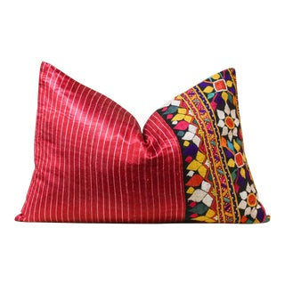 Floral Antique Mashru Pillow For Sale