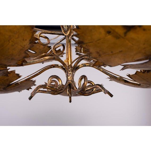 Spanish Gilt Metal Leaf Form Five Light Hanging Fixture For Sale - Image 12 of 13