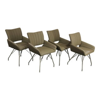 1970's Modern Italian Leather Chairs w/ Chrome Hairpin Style Legs - Set of 4