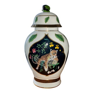 Lynn Chase Jaguar Jungle Lidded Jar For Sale