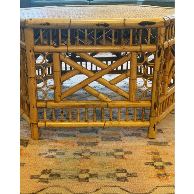 Bamboo hexagon coffee table circa 1950's-1960's. Originally sold by RH Macy and made in the Philippines. Designed with a...