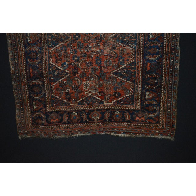 """Distressed Antique Persian Tribal Rug - 3'7"""" X 4'9"""" - Image 5 of 9"""