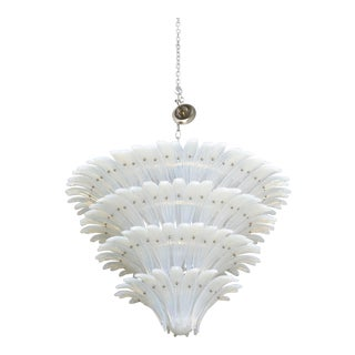 Very Fine and Monumental Sabino Opalescent Glass Chandelier For Sale