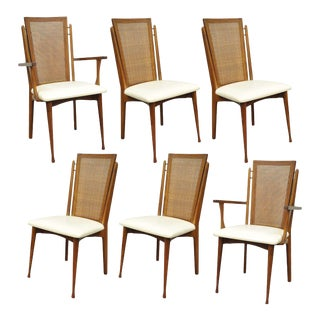 Vintage Woodcraft Mid-Century Danish Modern Cane Teak Dining Chairs - Set of 6 For Sale