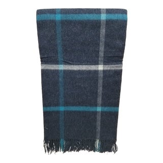Merino Wool Throw Blue and Aqua - Made in England For Sale