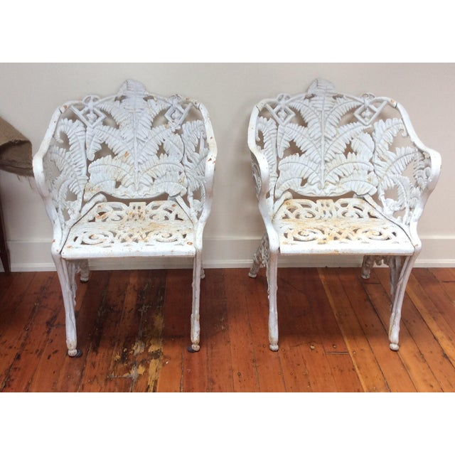 Victorian Iron Fern Garden Chairs - A Pair For Sale - Image 9 of 9