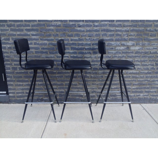 Mid-Century Modern Bar with Set of 3 Bar Stools - Image 10 of 11
