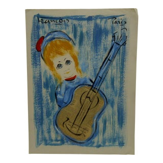 "Original Mixed Media French Painting on Paper ""Girl With a Guitar"" by Francois, 1970"