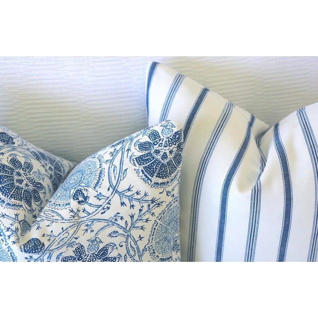 French Blue Mattress Ticking Pillow Cover 20x20 For Sale - Image 4 of 6