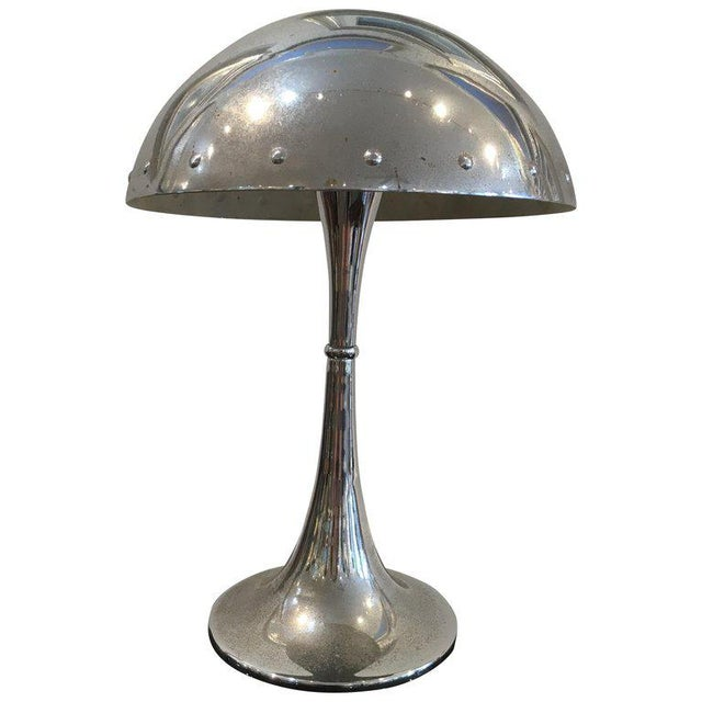 Metal Mid-Century Modern Chrome Table Lamp With Rivets For Sale - Image 7 of 7