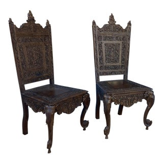 Pair of Elaborately Carved Anglo-Indian Side Chairs For Sale