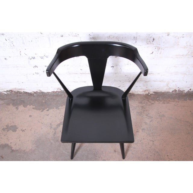 Wood Paul McCobb Planner Group T-Back Black Lacquered Solid Maple Dining Chairs, Set of Ten For Sale - Image 7 of 13