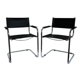 Mid-Century Modern Chrome Cantilever Arm Chairs - a Pair For Sale