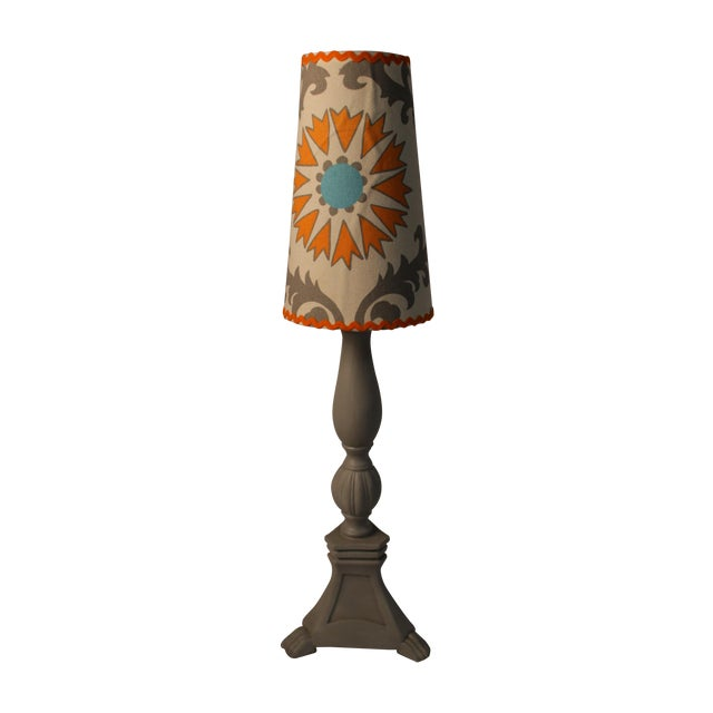 Grey Lamp With Decorative Shade - Image 1 of 4