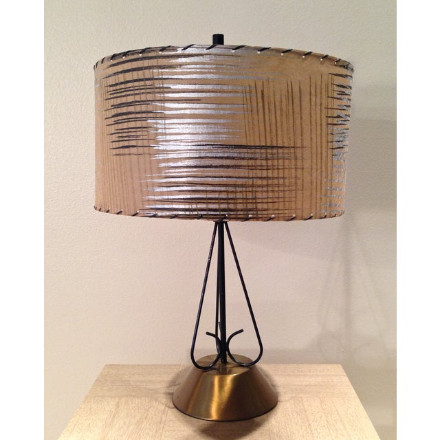 Atomic Era Wire and Brass Table Lamp - Image 2 of 7