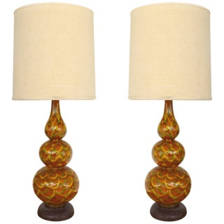 Mid-Century Modern Glazed Ceramic Table Lamps For Sale