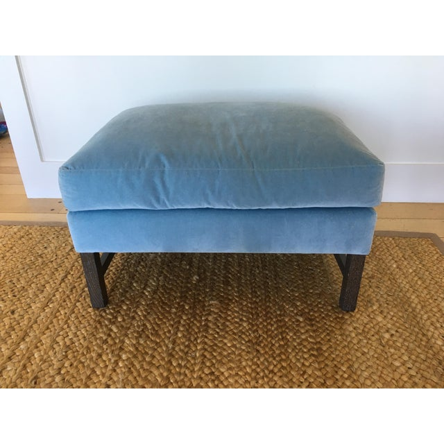 A. Rudin Blue Upholstered Ottoman - Image 11 of 11