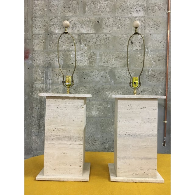 Modernist Travertine Square Table Lamps - Pair - Image 2 of 7