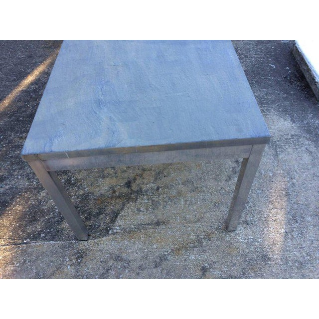 1990s Minimalistic Slate Coffee Table With Aluminum Base For Sale - Image 10 of 11