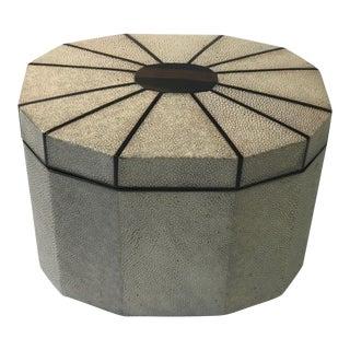 Sunburst Ebony Inlay & Shagreen Octagonal Box For Sale