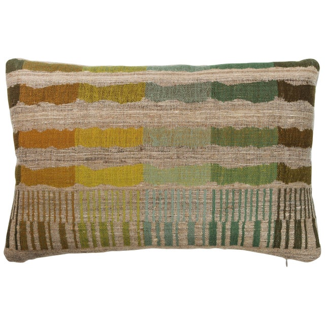 2010s Indian Handwoven Lumbar Pillow Bauhaus Green For Sale - Image 5 of 5
