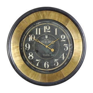 Bold Brass Wall Clock For Sale