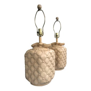 Vintage Camel Color Ceramic Pillow Tufted Bow Lamps with Matching Ball Finials - a Pair For Sale