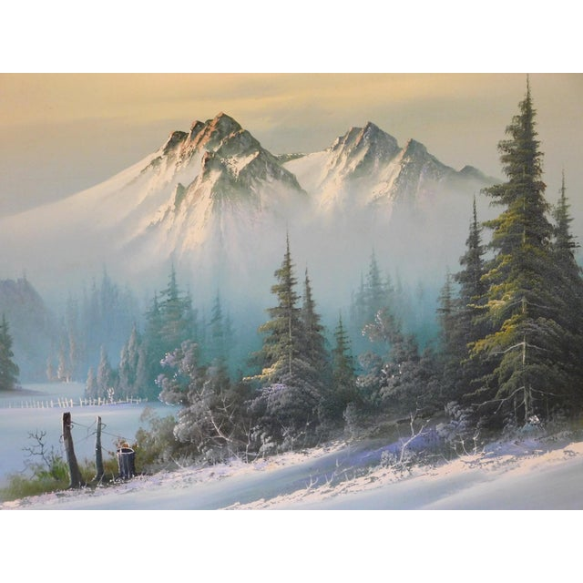 """Mid 20th Century """"A Winter Landscape"""" Oil Painting, Framed For Sale In San Francisco - Image 6 of 8"""