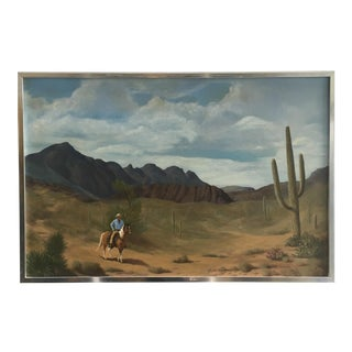 1970s Landscape Cowboy Painting by R. Luscombe