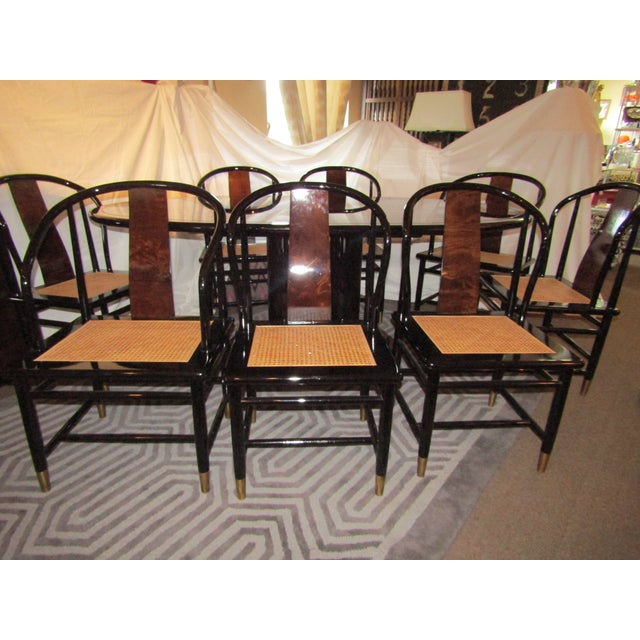 Henredon Black Lacquer Dining Set - 9 Pieces | Chairish
