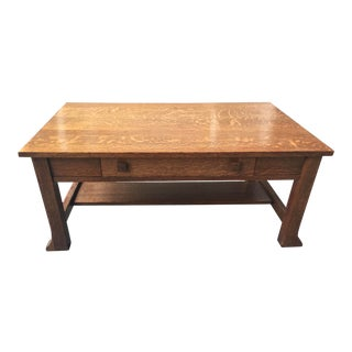 Antique Oak Arts & Crafts Coffee Table For Sale