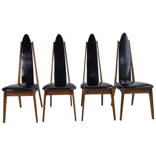 Set of Four High Back Chairs in the Manner of Adrian Pearsall For Sale