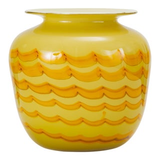 Yellow Combed Art Glass Vase For Sale