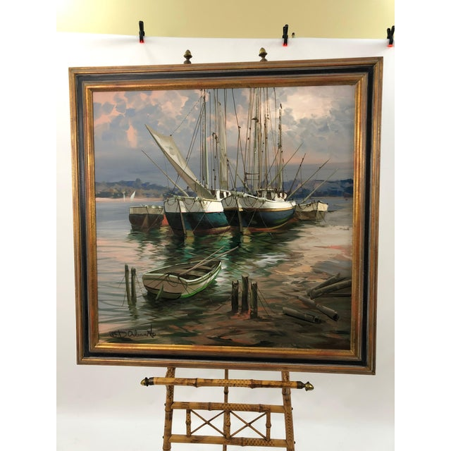 Modern Big Bold Canvas Painting of Harbor Sailboats For Sale - Image 4 of 10