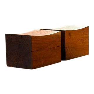 """Chris Lehrecke Solid Walnut """"Chinese Pillows"""" Low Seats-Stools - a Pair For Sale"""