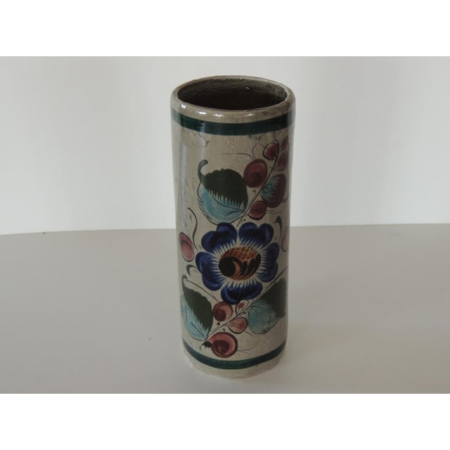 Late 20th Century Mexican Talavera Blue and Grey Round Vase For Sale - Image 5 of 5