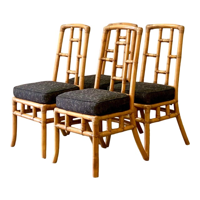 Vintage Coastal Bamboo Grid Dining Chairs - Set of Four For Sale