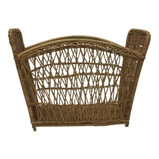 Vintage Rattan and Wicker Magazine Rack For Sale