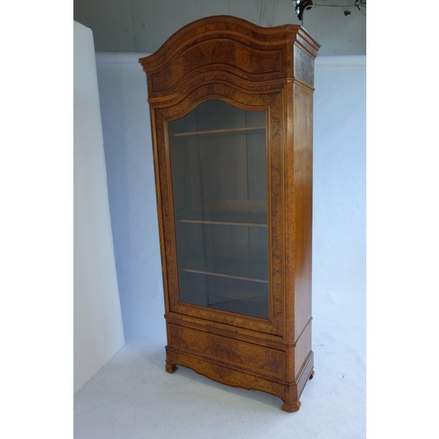 Traditional Glass Front Cabinet with Burl Veneers - Image 2 of 7