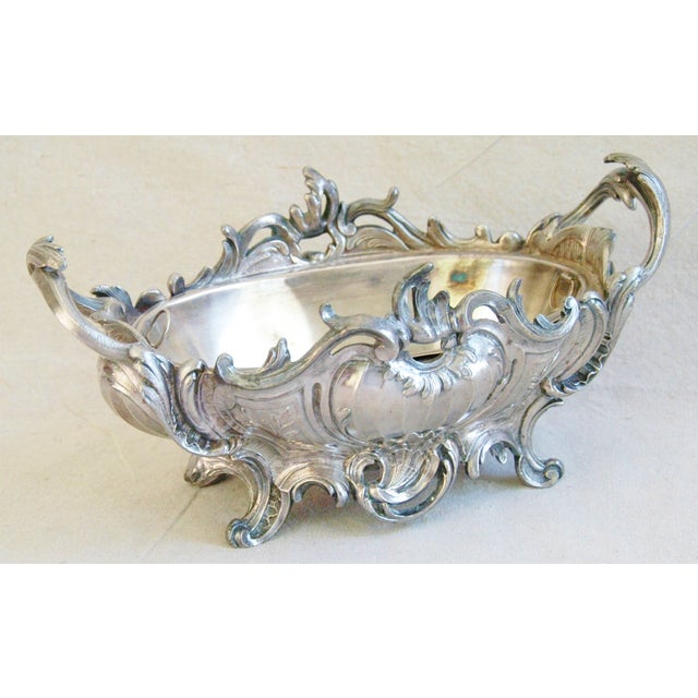 1950s Ornate French Silverplate Jardinière Planter - Image 11 of 11