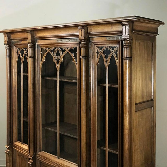 19th Century Gothic Walnut Triple Bookcase For Sale - Image 11 of 12