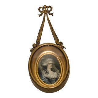 Vintage Brass Frame with Portrait For Sale