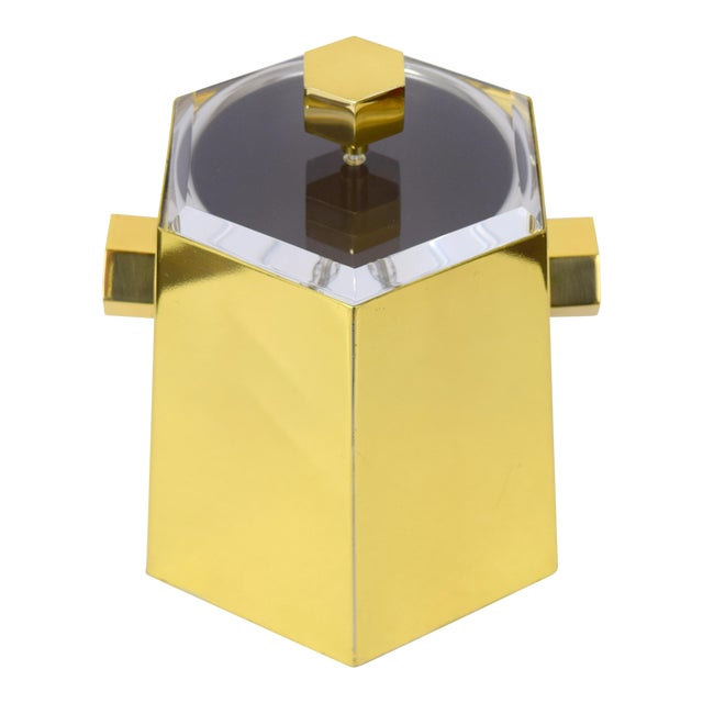Brass and Lucite Hexagonal Ice Bucket by Charles Hollis Jones For Sale
