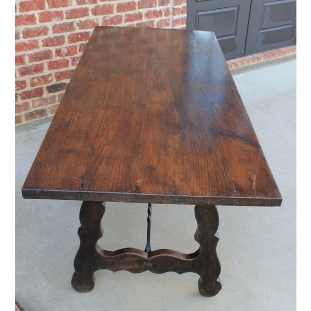 Mission Antique French Spanish Oak 19th Century Mission Catalan Style Farmhouse Dining Table Desk For Sale - Image 3 of 13