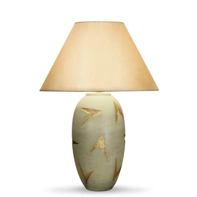 Green Gold & Green Vector Table Lamp For Sale - Image 8 of 8