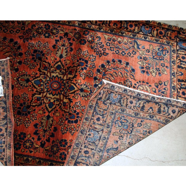 Blue 1920s, Handmade Antique Persian Sarouk Rug 3.3' X 5.5' For Sale - Image 8 of 9