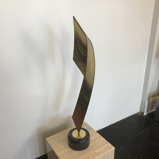 Mid-Century Modern C. Jere Brass Marble Ribbon Sculpture For Sale - Image 3 of 13