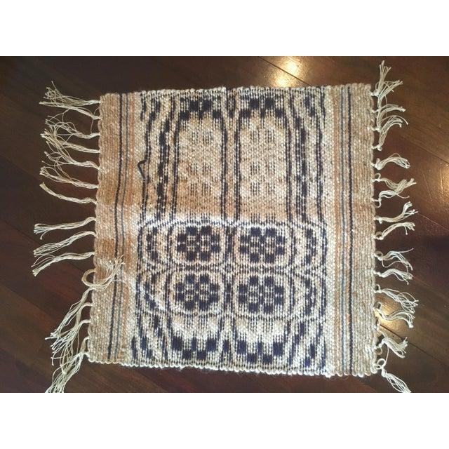 Textile 1960s Boho Chic Reversible Wool Weaving Rug Saddle Blanket For Sale - Image 7 of 7