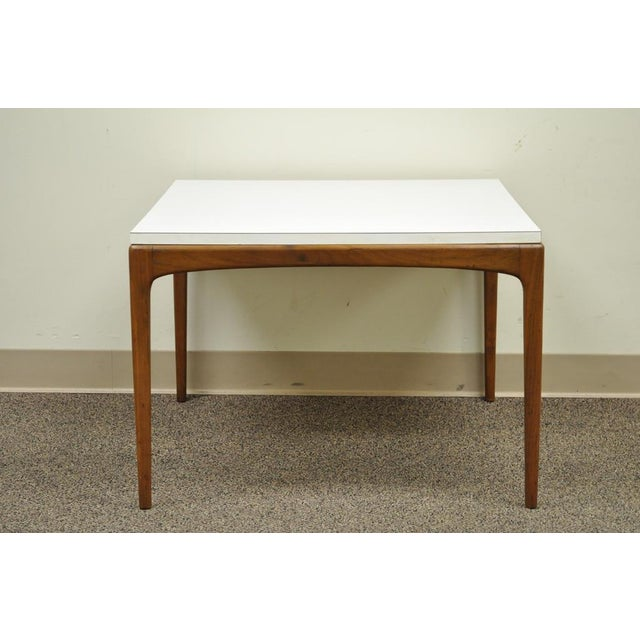 Item: Vintage Mid Century Modern Walnut & Laminate Danish Style Square Coffee Table. Details: White laminate top, Solid...